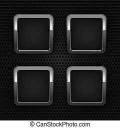 Set chrome web buttons, blank ornamental background