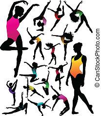 Set Dance girl ballet silhouettes