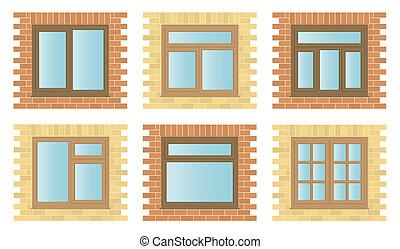 Set Exterior Wooden Windows