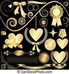 Set golden design elements (vector)