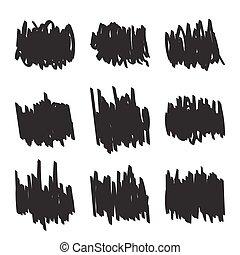 Set hand drawn figures, felt-tip pen scrawl. Rough blob frame elements. banner for text ads