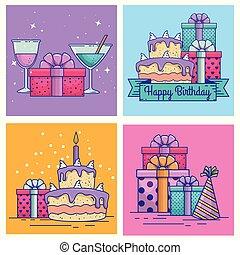 set happy birthday celebration with event decoration
