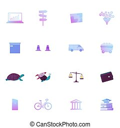 Set Icons Laptop, Road Pointer and Sales Funnel, Box, Traffic Cones, Van and Trolley, Turtle with Rocket, Scales, Purse and Charger. Bicycle, Bank Building, Book Pile, Cap. Cartoon Vector Illustration