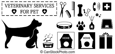 set isolated veterinary objects for pet care