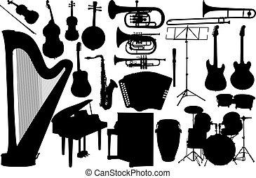 set music instrument - vector on white background