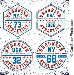 Set New York Brooklyn for t-shirt Prints