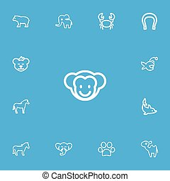 Set Of 13 Editable Animal Outline Icons. Includes Symbols Such As Fish, Cougar, Elephant And More. Can Be Used For Web, Mobile, UI And Infographic Design.