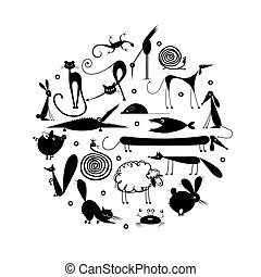 Set of 20 animals, black silhouette for your design