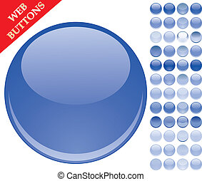 Set of 49 blue glass buttons, glossy icons, web spheres, vector illustration