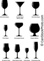 set of alcoholic glass