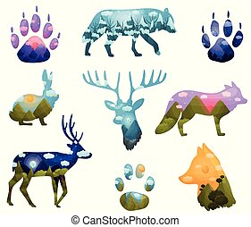 Set of animal silhouettes. Vector illustration on white background.