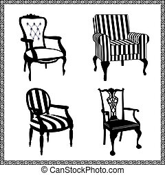Collection of different chairs, black furniture silhouettes