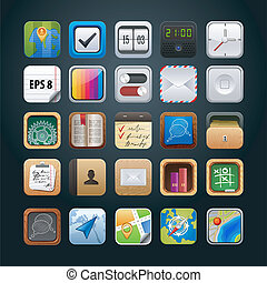 set of app vector icons for web