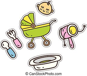 set of baby accessories cute patch isolated on white background