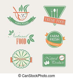Set of badges for organic and natural products