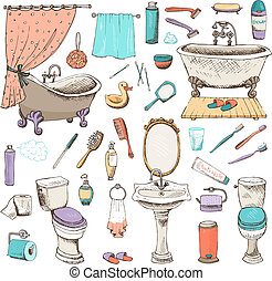 Set of vector bathroom and personal hygiene icons with bathtubs towel hand basin toilet mirror toiletries toothbrush hairbrush comb duck toilet paper hand-drawn illustrations