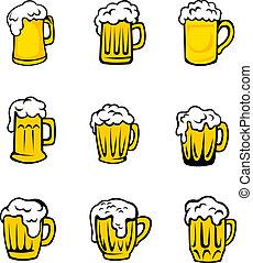 Set of beer glasses with fresh foam for pub design