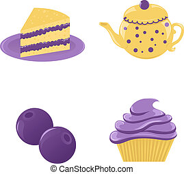 Set of blueberry desserts