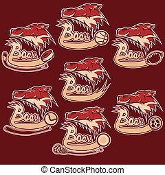 set of boars sports vintage labels
