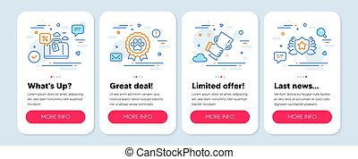 Set of Business icons, such as Travel loan, Dog competition, Winner cup symbols. Laureate line icons. Vector