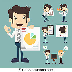 Set of businessman characters presentation graph , eps10 vector format