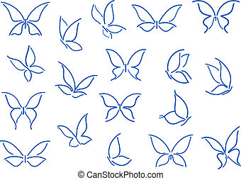 Set of butterfly silhouettes