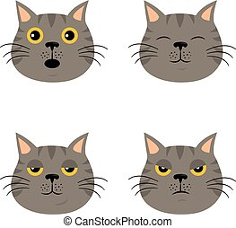 Set of cartoon cat emoticons in simple flat style.
