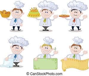 Set of cartoon cooks, chefs