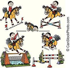 set of cartoon horse jumping show
