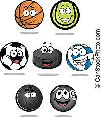 Set of cartoon sports balls characters