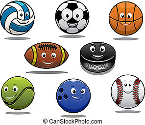 Set of cartoon sports balls equipment