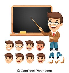 Set of Cartoon Teacher Character for Your Design or Animation