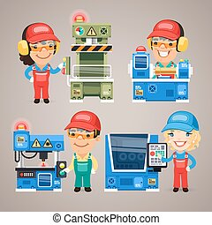 Set of Cartoon Workers Working on the Factory Machines. In the EPS file, each element is grouped separately. Clipping paths included in additional jpg format.