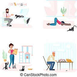 Set of Cat with owners