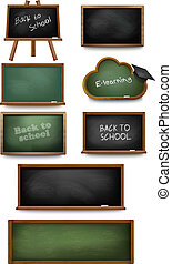Set of chalkboards and schoolboards. Vector illustration