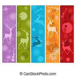 Set of Christmas vertical gift tag, card with silhouette of wild deer