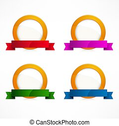 Set of circle labels on white. Vector illustration.