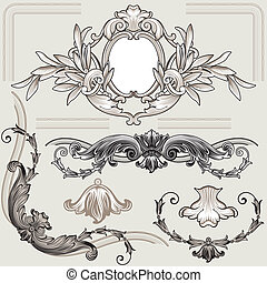 Set Of Classic Floral Decoration Elements, editable vector illustration