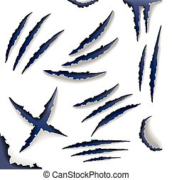 Set of claw scratches, isolated on white background, vector