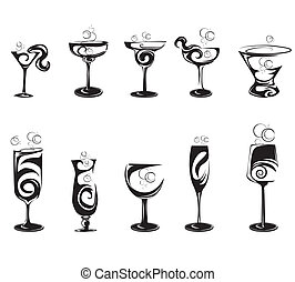 set of cocktail silhouette glasses