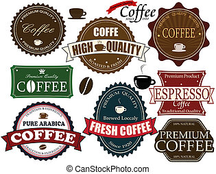 Set of vintage coffee labels and elements on white, vector illustration