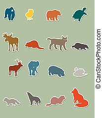 Set of colored animal silhouettes