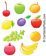 set of colored glossy fruit icons