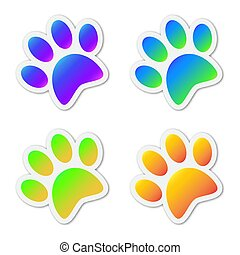 Set of colored vector animal footprints.