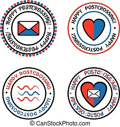Set of colored vector seals for Postcrossing.