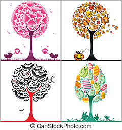 Set of colorful stylized trees