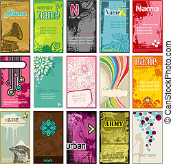 set of colorful vertical business cards in different styles (2x3,5')