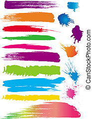 Set of colour line brushes