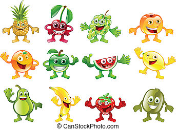 A set of happy cute colourful fruit character mascots