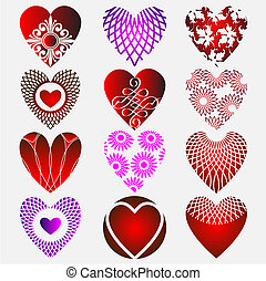Set of complex heart icon with calligraphic elements